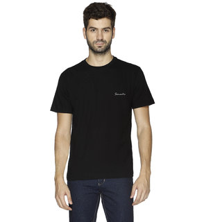 100 Cotton - Mens Plain T Shirt for Daily Use in Black Color - Round Neck  Half Slevees in Size S (Small) by Semantic