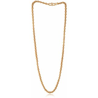 Sanaa Creations Gold Plated Alloy Rhodium Coated Mens Chain Designer Brass  Elegant Stainles Steel Necklace Mens Chain for Rakhi and Diwali Gift for Sister or Brother