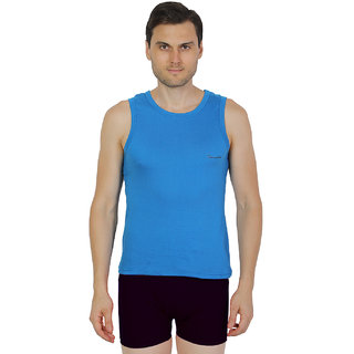 Mens Royal Blue Color Gym Vest - 100% Cotton - Size S (Small) 70 to 75 cm - Single Pcs Baniyan by Semantic