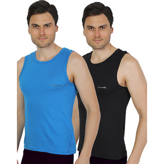 Pack of 2 - Mens Black & Royal Blue Color Gym Vest - 100% Cotton - Size S (Small) 70 to 75 cm - Baniyan by Semantic