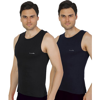 Pack of 2 - Mens Black & Navy Blue Color Gym Vest - 100% Cotton - Size S (Small) 70 to 75 cm - Baniyan by Semantic