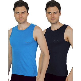 Pack of 2 - Mens Royal Blue & Navy Blue Color Gym Vest - 100% Cotton - Size S (Small) 70 to 75 cm - Baniyan by Semantic