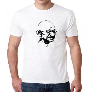 HEYUZE 100% Cotton Half Sleeve Male Men Round Neck White T Shirt with Gandhi Ji Design