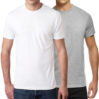 HEYUZE 100% Cotton Half Sleeve Male Men Round Neck White T Shirt with Plain White and Grey (Pack of 2)