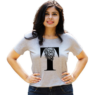 HEYUZE 100% Cotton Half Sleeve Girl Women Round Neck Grey T Shirt with Initial Letter Alphabet T Lion Leo Design
