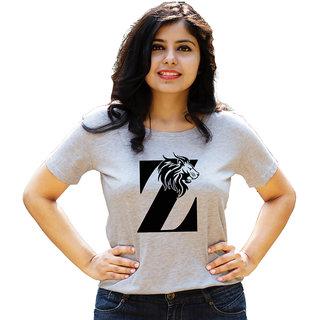 HEYUZE 100% Cotton Half Sleeve Girl Women Round Neck Grey T Shirt with Initial Letter Alphabet Z Lion Leo Design