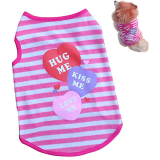Futaba Fashion Puppy Stripe Vest T Shirt - Pink - Xs