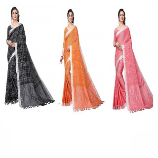 Indian Style Sarees New Arrivals Latest Women's Linen Saree With Blouse Piece Pure Lenin Cotton Sarees With Combo Pack 3
