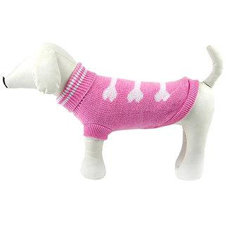 Futaba Dog Bone Style Dog Sweater - Pink - L