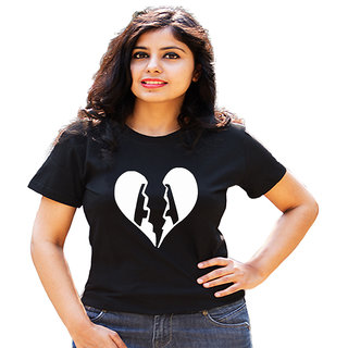 HEYUZE 100% Cotton Half Sleeve Girl Women Round Neck Black T Shirt with Initial Letter Alphabet A Heartbreak Design