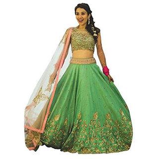 Florence Womens Green Bangalore Silk Heavy Lehenga Choli