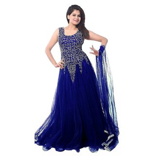 Florence womens Blue Net Party Wear Gown