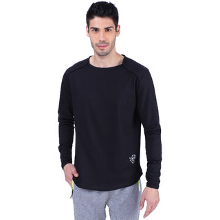 Gym Garage Military Printed Round Neck Full Sleeve Black T-Shirt Slim Fit  for Gym Training Activity For Men