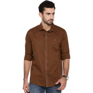 Khoday Williams Men's Brown Cotton Linen Solid Casual Shirt