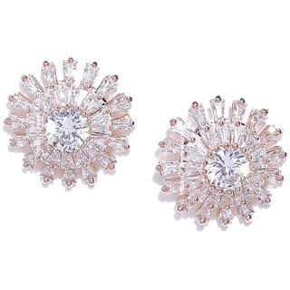 Jewels Galaxy Luxuria Elegant Floral Design Crystal 18K Rose Gold Plated Glistening Stud Earrings For Women/Girls