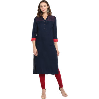 Spoorthi Women's Navy Rayon Embroidered Straight Kurta
