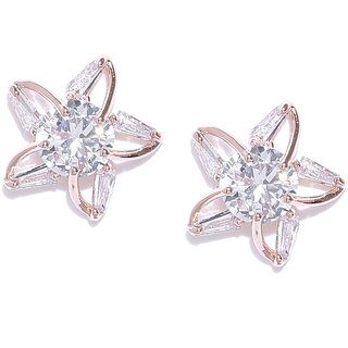 Jewels Galaxy Luxuria Stunning Floral Design Crystal Rose Gold Plated Fascinating Stud Earring For Women/Girls