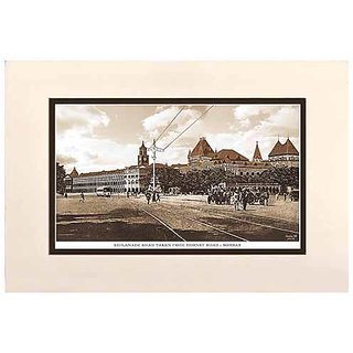 Old Vintage Bombay (Mumbai) Mounted Photo Frame of Esplanade road taken from Hornby road