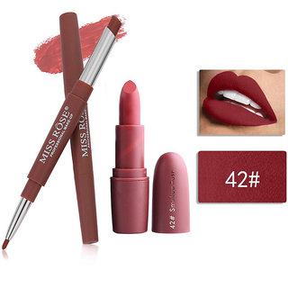 Miss Rose Combo 2 In 1 Waterproof LIpstick/Lipliner With Attractive Matte Lipstick 2 in 1-  46+ bullet 42