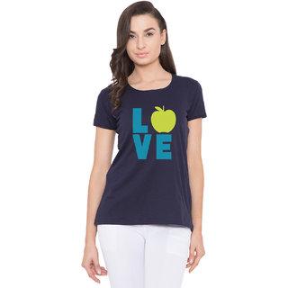 Cliths Women's Navy Blue Cotton Love Apple Printed T-Shirt