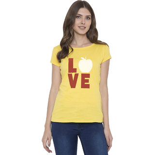 Cliths Women's Yellow Cotton Love Apple Printed Half Sleeves T-Shirt