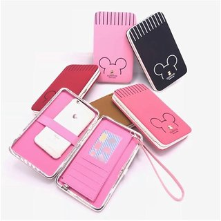 on sale 2ff41 d2ec0 Universal Women's Clutch Mobile Phone Wallet Stylish Cell Phone Case with  Passport Holder Driving license Folder Credit