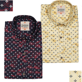 Spain Style Printed Casual Shirts For Men's Pack of 2