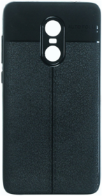 Redmi Note 4 leather texture back cover/case Auto Focus BLACK