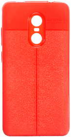 Redmi Note 4 leather texture back cover/case Auto Focus RED