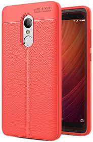 Auto Focus Leather Look Texture Soft TPU Back Case Cover For Redmi Note 4 - Red