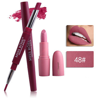 Miss Rose Combo 2 In 1 Waterproof LIpstick/Lipliner With Attractive Matte Lipstick 2 in 1-  05+ bullet 48