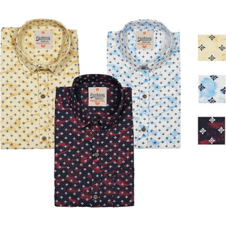 Spain Style Printed Casual Shirts For Men's Pack of 3
