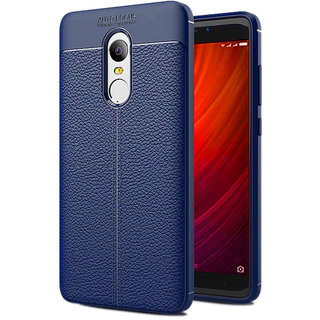 Auto Focus Leather Look Texture Soft TPU Back Case Cover For Redmi Note 4 - Blue