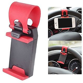 Shivsoft Retractable Silicon Car Steering Wheel Universal Mobile Phone Socket Stand Holder Clip