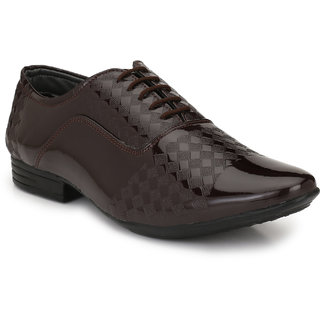 AVR Brown Synthetic Leather Lace up Formal Shoes