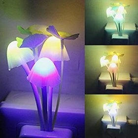 Electric White Plastic Mushroom Shape Night Lamp With Bulb Attached (12 cm x 4 cm x 4 cm) - Set Of 1