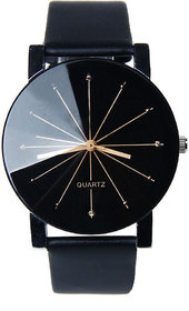 Loretta Round Dial Black Leather Strap Analog Watch For