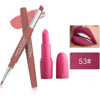 Miss Rose Combo 2 In 1 Waterproof LIpstick/Lipliner With Attractive Matte Lipstick 2 in 1-  47+ bullet 53