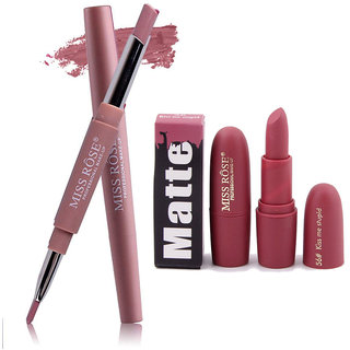 Miss Rose Combo 2 In 1 Waterproof LIpstick/Lipliner With Attractive Matte Lipstick 2 in 1-  06+ bullet 56