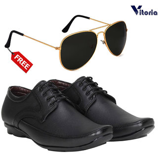 Combo of Vitoria Black Slip on Smart Formals Shoes With Fashionable Unisex Sunglasses