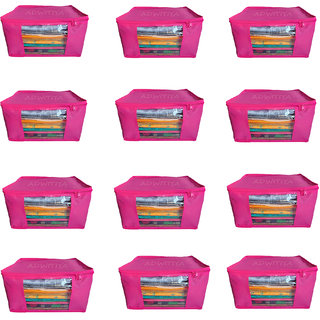 ADWITIYA Set of 12 Pcs Plain Large Nonwoven Saree Salwar Suit Shirt Jeans Bedsheet Garment Cloth Cover Case - Pink