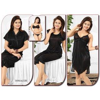 Womens Sleepwear 6pc Bra Panty Top Capri Pant Nighty Over Coat 622D Black Night Robe Set Daily Lounge Wear