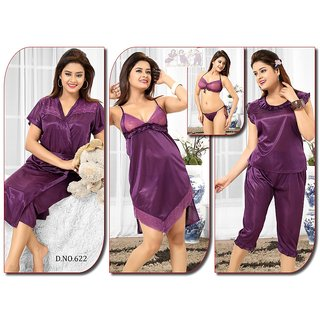 Womens Sleepwear 6pc Bra Panty Top Capri Nighty  Over Coat 622 Purple Night Robe Set Daily Lounge We