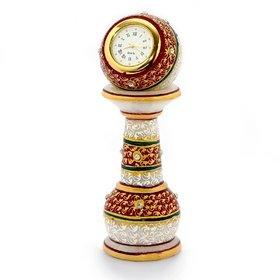 Handmadeo artize Gold Painted Meenakari Work Marble Pillar Watch (White)