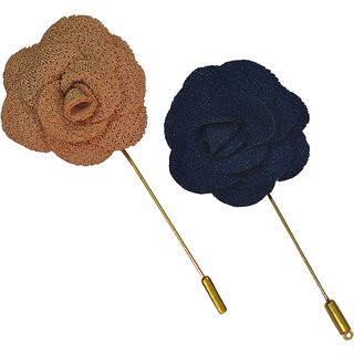 Sunshopping men's cream and navy blue rose flower lapel pin combo (UIF1)
