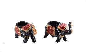 Handmadeo artize Tea light painted elephant decorative for table dinning restaurant gift ( Set of 2 )
