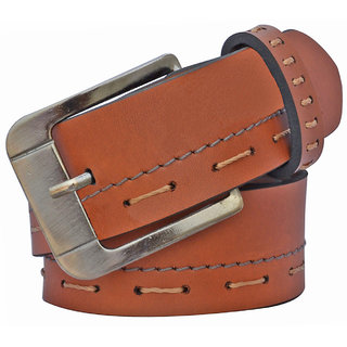 Sunshopping men's brown letheright needle pin buckle belt (PSD-TB-ERT) (Synthetic leather/Rexine)