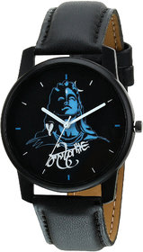 RIDIQA Analog Mahadev Print Black Dial Black Leather St