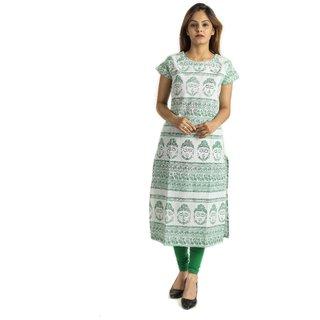 Alobha Green Budhas Printed Long Cotton Kurtis For Woman