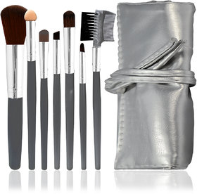 Adbeni Imported Cosmetic Makeup Tools Set Silver Make Up Brushes of 7 Pcs